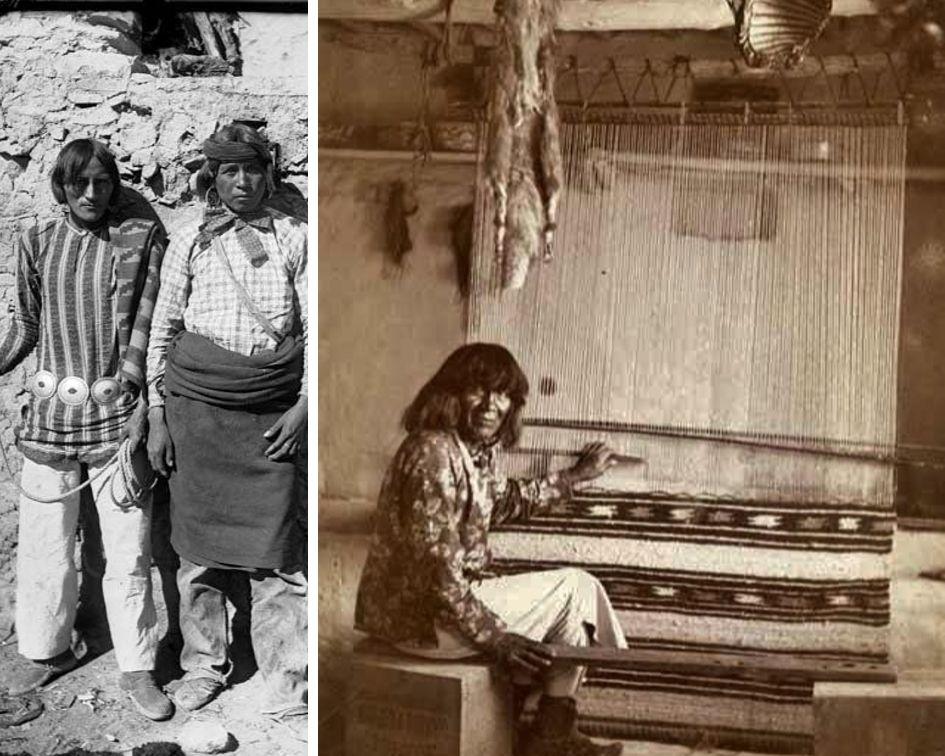L: Hopi Men, 1899. R: Hopi Weaver, 1901
